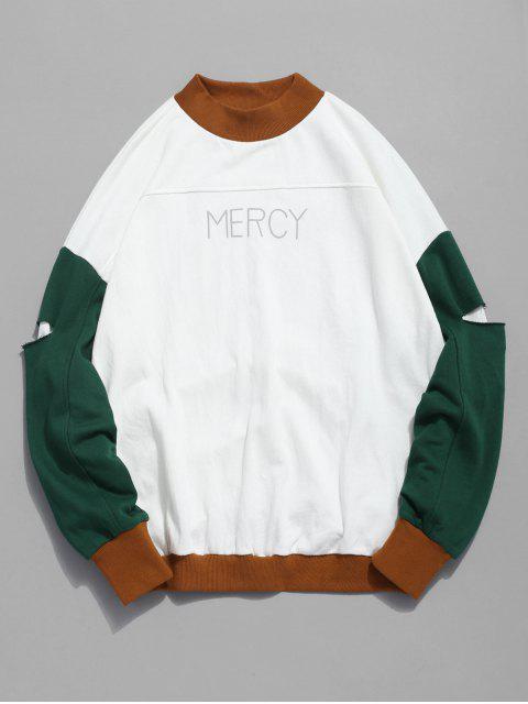 hot Color Block Sleeve Patch Sweatshirt - KHAKI 2XL Mobile