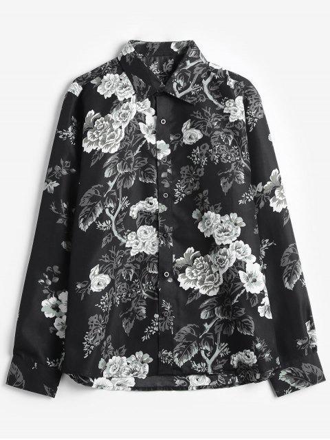 Chemise Décontractée Rose Fleur Imprimées - Noir XS Mobile