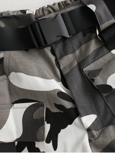 Short Camouflage Imprimé Ceinturé à Coupe Haute - Gris M Mobile