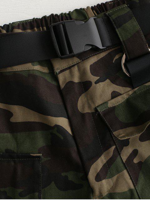 Short Camouflage Imprimé Ceinturé à Coupe Haute - Vert Armée  S Mobile