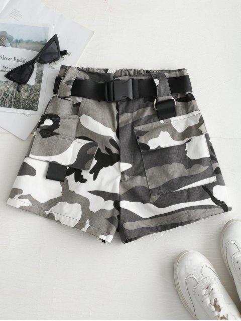 Short Camouflage Imprimé Ceinturé à Coupe Haute - Gris L Mobile