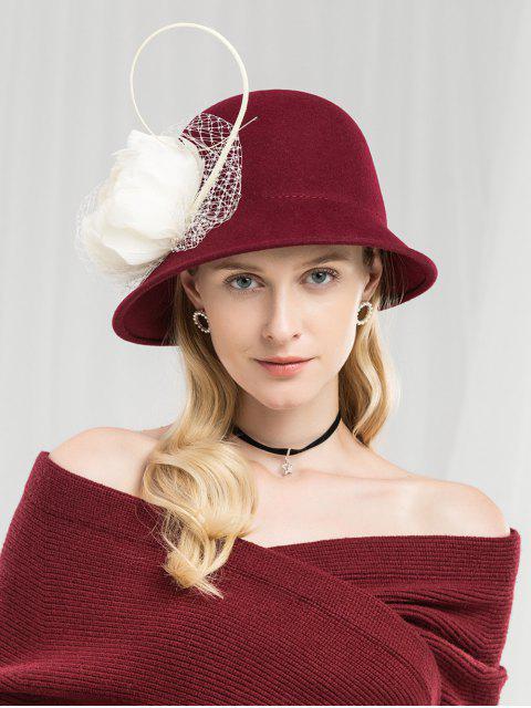buy Vintage Floral Mesh British Hat - RED WINE  Mobile