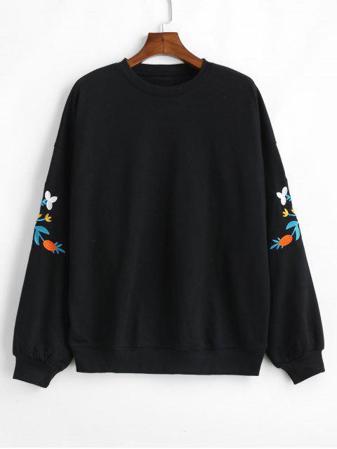 online Embroidered Blouson Sleeve Ovesized Sweatshirt - BLACK ONE SIZE Mobile
