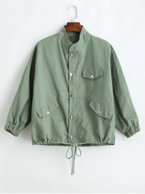 shop Drawstring Twill Jacket - DARK SEA GREEN XL Mobile