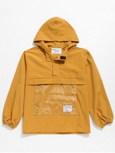 trendy Front Pocket Windbreaker Jacket - BEE YELLOW L Mobile