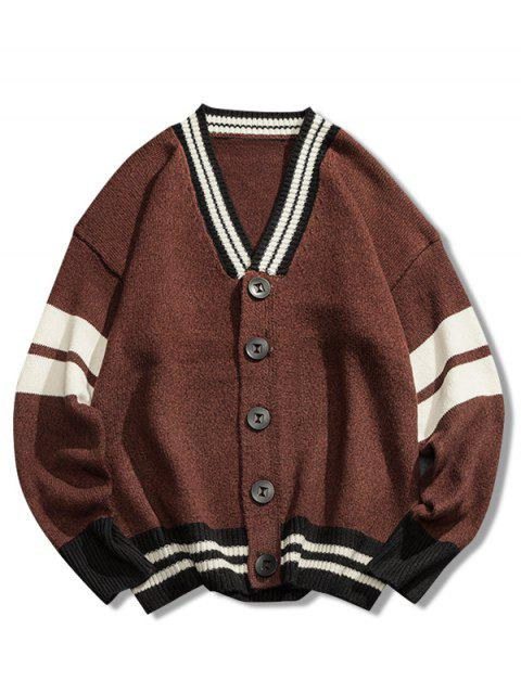 online V Neck Loose Button Cardigan - COFFEE 3XL Mobile