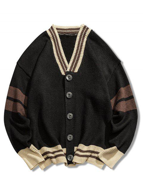 outfit V Neck Loose Button Cardigan - BLACK 2XL Mobile