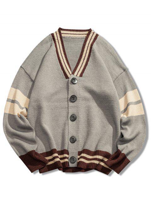 shop V Neck Loose Button Cardigan - LIGHT GRAY XL Mobile