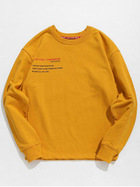 fashion Letter Human Print Graphic Sweatshirt - BEE YELLOW 2XL Mobile