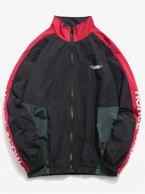 outfit Letter Printed Contrasting Windbreaker Jacket - LAVA RED L Mobile