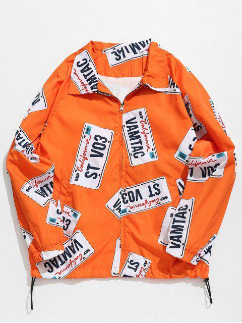 affordable License Plate Printed Fleece Jacket - BRIGHT ORANGE M Mobile