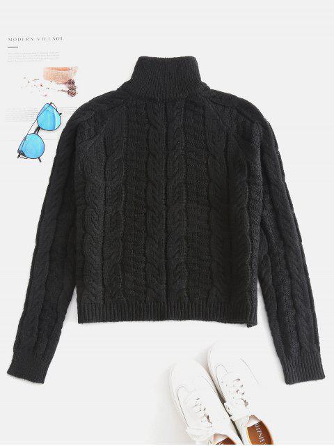 Cable Knit Pullover mit hohem Kragen - Schwarz Eine Größe Mobile