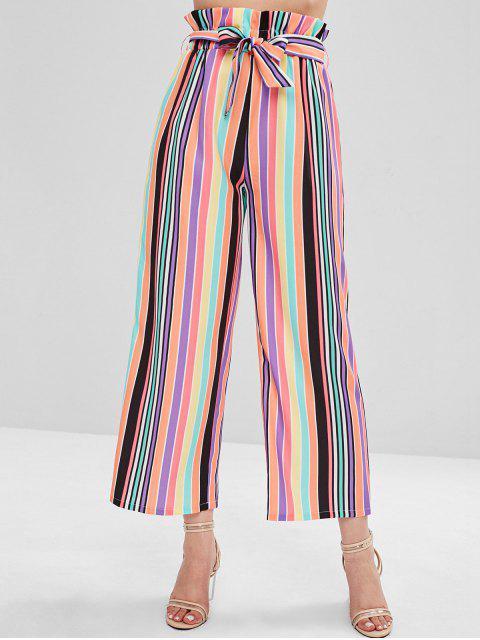 women ZAFUL High Waisted Colorful Stripes Wide Leg Pants - MULTI S Mobile