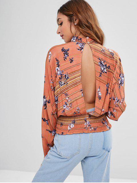 lady ZAFUL Floral Keyhole Backless Knot Blouse - MULTI XL Mobile
