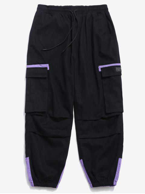 Pantalones cargo de bloque de color elástico puño - Negro XS Mobile