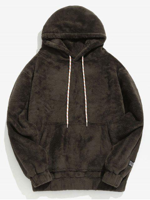 women's Solid Pouch Pocket Fluffy Hoodie - TAUPE L Mobile