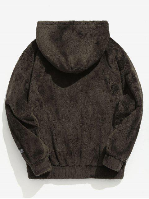 chic Solid Pouch Pocket Fluffy Hoodie - TAUPE 2XL Mobile