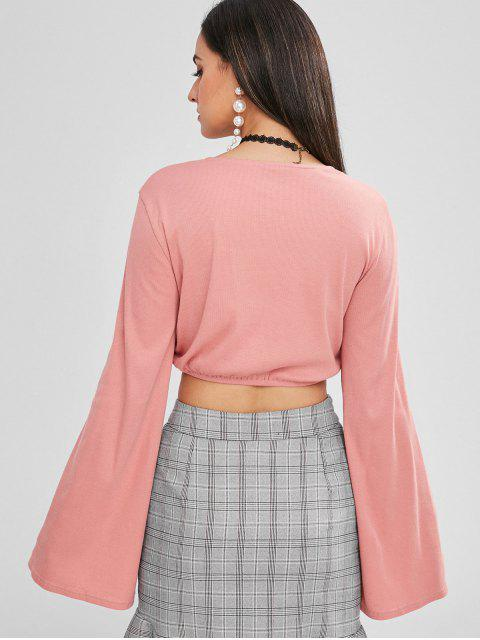 online ZAFUL Tie Front Ribbed Flare Sleeve Top - PINK M Mobile