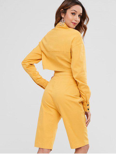 Conjunto de camisa y pantalones cortos con botones ZAFUL - Mostaza L Mobile