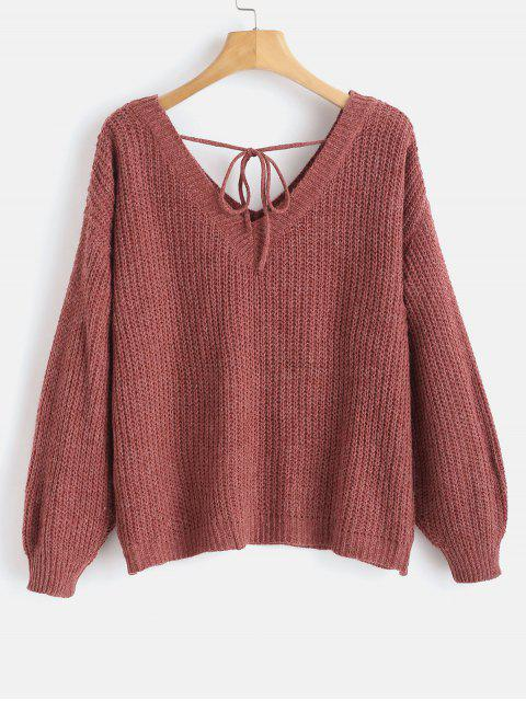 hot Drop Shoulder V Neck Oversized Sweater - RED WINE S Mobile