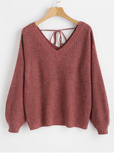 Übergroßer Pullover mit V-Ausschnitt und Schulter - Roter Wein L Mobile