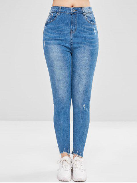 Frayed Hem Ripped Jeans - Azul de Jeans  XL Mobile
