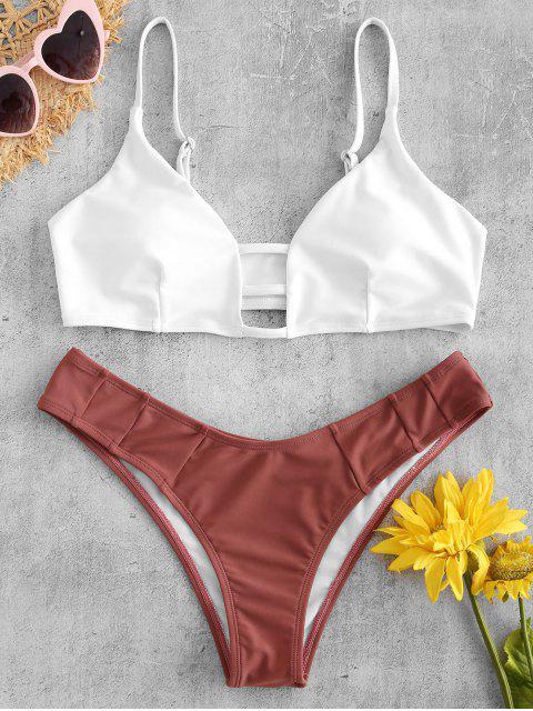online Lattice Bralette Bikini Set - WHITE S Mobile