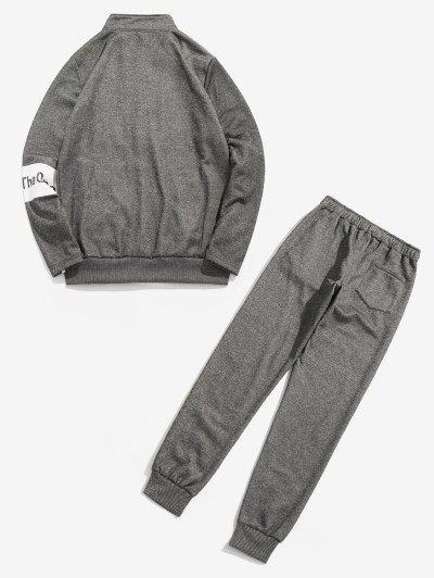 Conjunto de Calças Casuais com Moletom Fleece - Cinza L