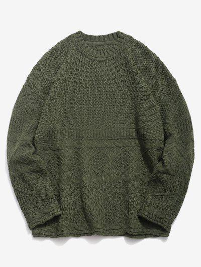 Solid Geometric Twist Knitted Sweater - Army Green 4xl 8dfb390e0