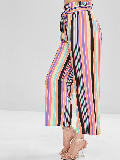 ZAFUL High Waisted Colorful Stripes Wide Leg Pants, Multi