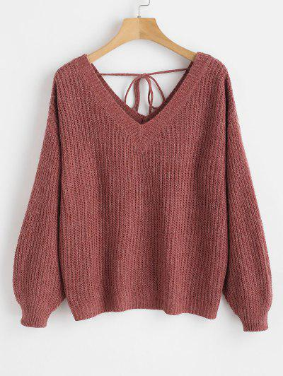 Drop Shoulder V Neck Oversized Sweater - Red Wine M