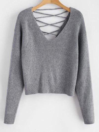 V Back Lace Up Sweater - Gray S