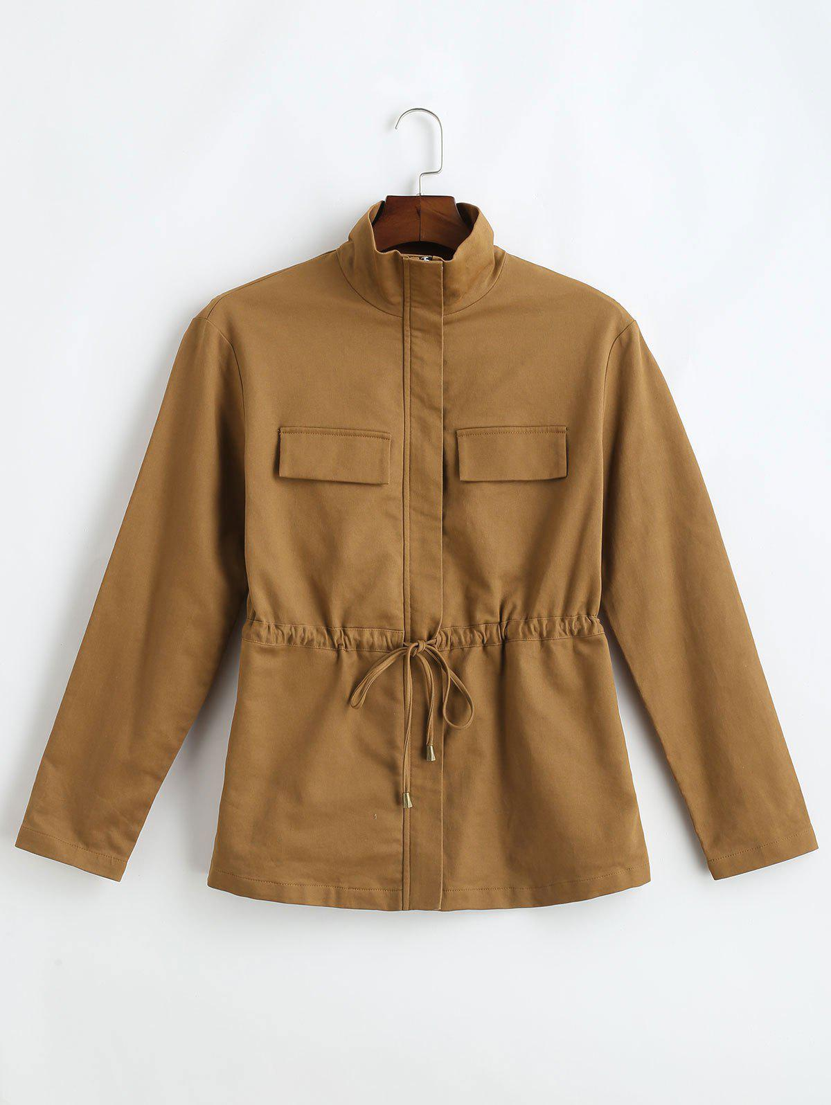 ZAFUL Stand Collar Zip Drawstring Jacket, Brown