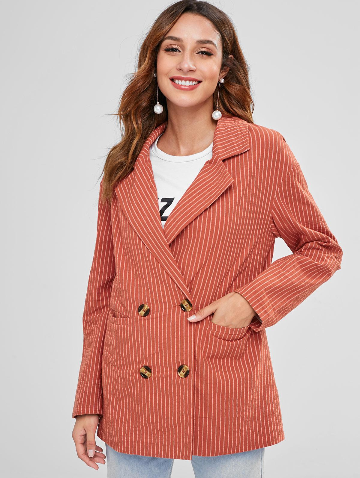 ZAFUL Back Slit Striped Lapel Blazer