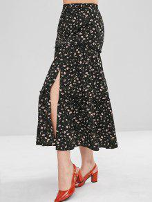 ZAFUL Ruffles Tiny Floral Midi Skirt - أسود M