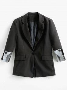 فو جيوب مخطط طية صدر السترة سترة - أسود L