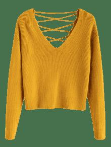 eeeb23a953 49% OFF  2019 V Back Lace Up Sweater In BEE YELLOW S