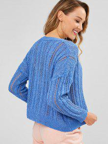 21c30b515 41% OFF  2019 Cable Open Knit Boxy Sweater In OCEAN BLUE