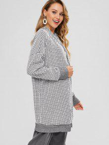 Open Front Gingham Cardigan