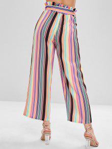 39ac6d9240cdd ZAFUL - Pantalon large à rayures colorées à taille haute