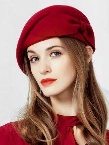 النمط البريطاني BOWKNOT الصوفية القبعات - نبيذ احمر