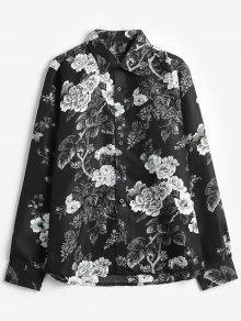 روز الزهور طباعة القميص عادية - أسود Xs