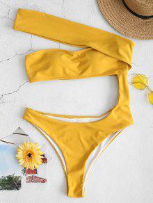 ZAFUL قبالة الكتف قطع ملابس السباحة - قضبان ذهبية L