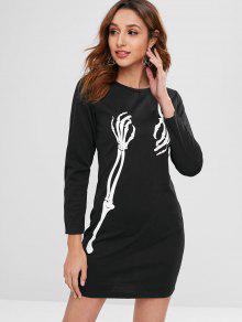 هالوين الهيكل العظمي طباعة اللباس القصير - أسود L