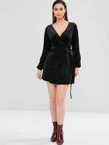 b5b5120b85 30% OFF] 2019 Long Sleeve Mini Velvet Wrap Dress In BLACK | ZAFUL