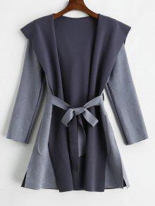 معطف من جلد الغزال الخام - ازرق رمادي S