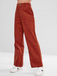 سروال واسع مخصر عالي الساق واسع - كستنائي أحمر L