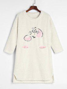 كارتون رقيق ابتزاز الشتاء ثوب النوم - أبيض L
