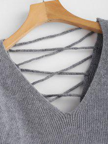 05349f794a 49% OFF  2019 V Back Lace Up Sweater In GRAY S