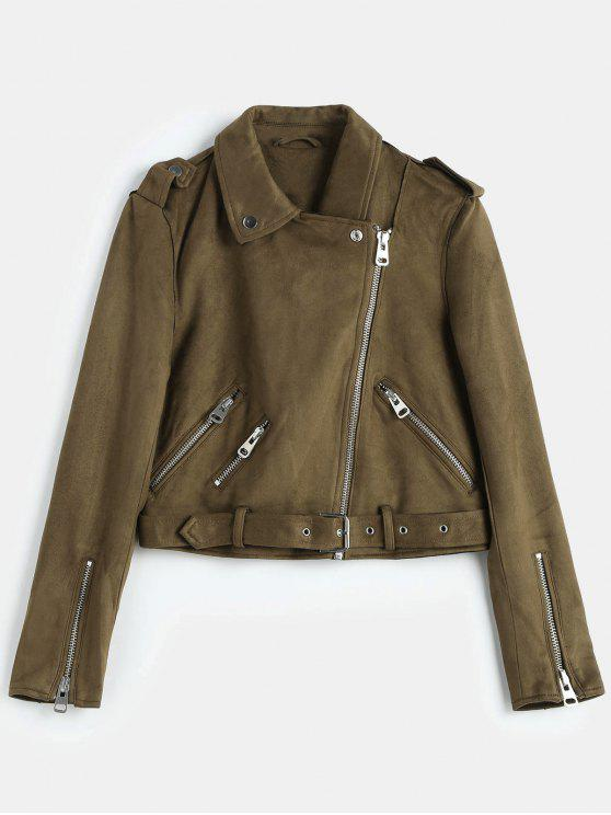 chic Belted Zipped Faux Suede Biker Jacket - COFFEE M